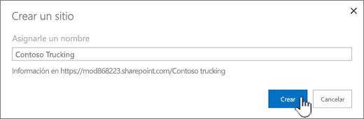 Crear un nuevo cuadro de diálogo del sitio cuando se aplican sitios clásicos
