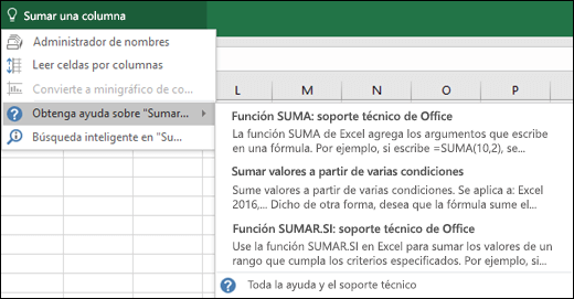 Haga clic en el cuadro Información en Excel y escriba lo que le gustaría hacer. Información intentará ayudarle a realizar dicha tarea.
