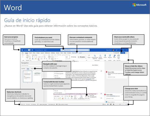 Guía de inicio rápido de Word 2016 (Windows)