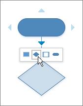 Al mover el puntero sobre una flecha de conexión automática, se muestra una barra de herramientas de formas para agregar.