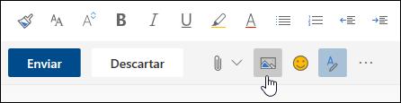 Captura de pantalla del botón Insertar imágenes en línea