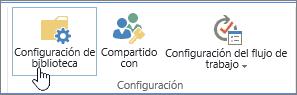 Botones de configuración de la biblioteca de SharePoint en la cinta de opciones