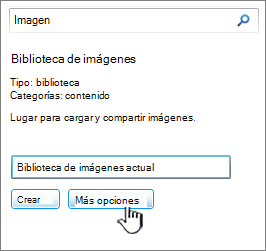 Cuadro de diálogo crear biblioteca de imágenes con más opciones resaltadas