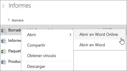 Abrir un archivo en Word Online en OneDrive