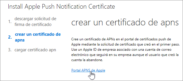 Cuadro de diálogo Instalar certificado de notificación de APN con el portal APNS de Apple seleccionado.
