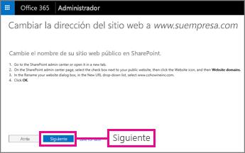 En Office 365, seleccione Siguiente