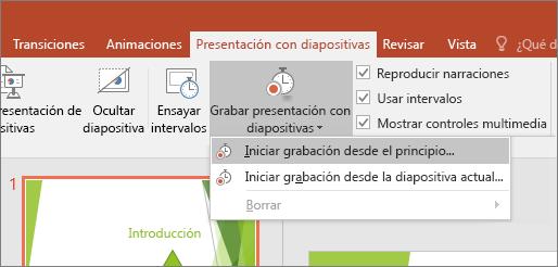 Se muestra el botón Iniciar grabación en PowerPoint