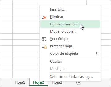 Haga clic con el botón secundario en la ficha de hojas y, después, haga clic en Cambiar nombre