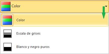 Opciones de color en el cuadro de diálogo Imprimir