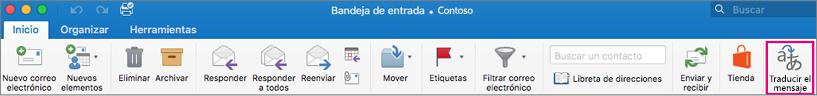 Comando Traducir en Outlook para la cinta de opciones de Mac