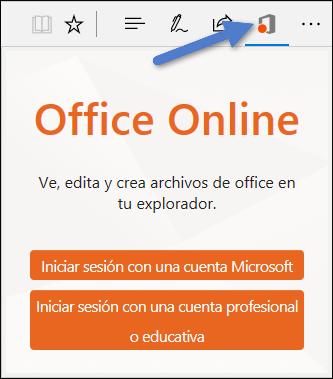 Cuadro de diálogo de inicio de sesión de la extensión de Office online en Edge