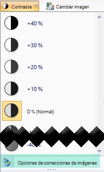 Para ajustar la cantidad de contraste, seleccione las opciones de correcciones de imagen