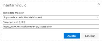 Cuadro de diálogo hipervínculo en Outlook en la Web.
