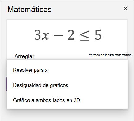 Una ecuación con una lista desplegable de formas para resolverlo.