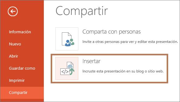 Insertar una presentación de PowerPoint