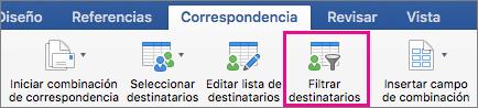 Haga clic para filtrar lista de combinación de correspondencia