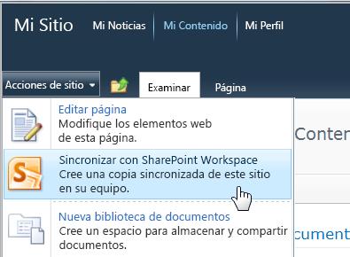 Comando Sincronizar con SharePoint Workspace del menú Acciones del sitio