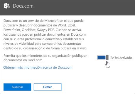 Active el control deslizante para permitir que los usuarios de la organización publiquen en Docs.com.