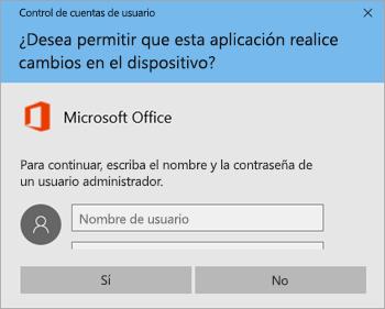 Captura de pantalla donde se muestra la ventana de control de cuentas de usuario