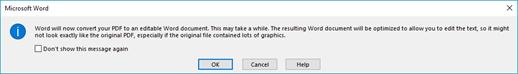 Word confirma que intentará redistribuir el archivo PDF que se ha abierto.