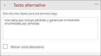 Cuadro de diálogo texto alternativo para las tablas de PowerPoint para teléfonos Windows.