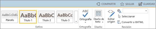 Captura de pantalla de una sección de la cinta de SharePoint Online con los controles Compartir, Seguir y Guardar.