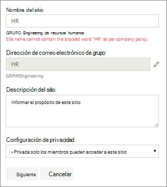 Captura de pantalla: Directiva de nomenclatura de grupo: sitio de SharePoint bloqueado nombre