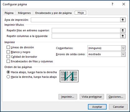 Configurar página > Opciones de hoja