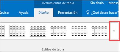 Captura de pantalla de los primeros seis estilos de tabla y el botón Más para ver todos los estilos de tabla.