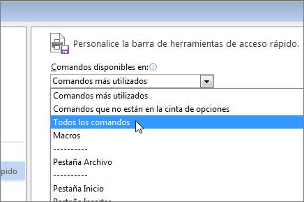 Menú Comandos disponible de la barra de herramientas de acceso rápido
