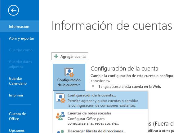 La opción Configuración de la cuenta puede encontrarse en el panel Información de la cuenta.