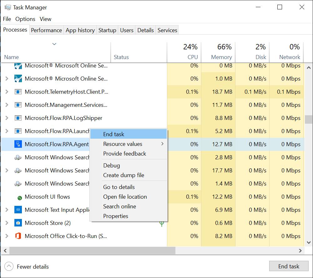 Proceso de agente de RPA en la captura de pantalla del administrador de tareas