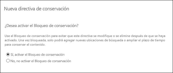 Opción para activar el Bloqueo de conservación
