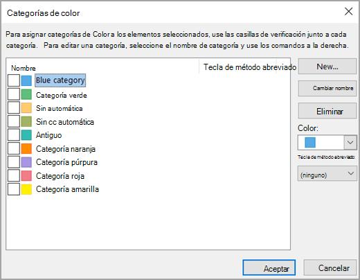 Cuadro de categorías de color