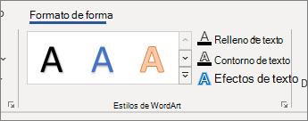Grupo de opciones de estilos de WordArt