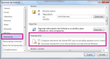 Sincronizar fuentes RSS