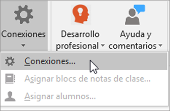 Seleccione Conexiones en la pestaña de Bloc de notas de clase.