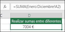 SUMA 3D en las hojas con nombre.  La fórmula en D2 es =SUMA(enero:diciembre!A2)