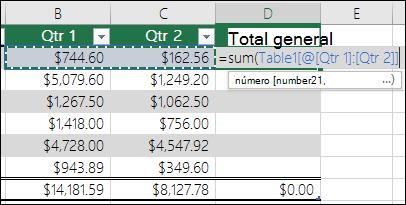 Agregar una sola fórmula en una celda de tabla que se autocompletará para crear una columna calculada