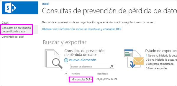 Opción de consultas de prevención de pérdida de datos