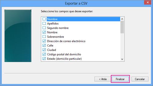 Elija los campos que desea exportar al archivo CSV y elija Finalizar.