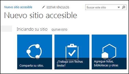 Captura de pantalla de un nuevo sitio de SharePoint que muestra los mosaicos utilizados para personalizar el sitio