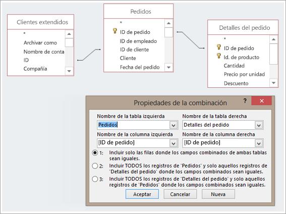 Captura de pantalla de tres tablas y sus Propiedades de la combinación