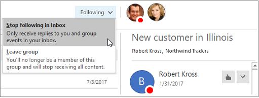 Botón suscribirse en el encabezado grupos en Outlook 2016