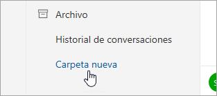 Captura de pantalla del botón Nueva carpeta