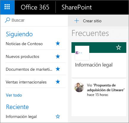 Captura de pantalla de la página principal del modo Moderno de SharePoint.