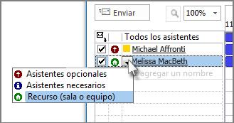Haga clic en el icono ubicado a la izquierda del nombre y, luego, haga clic en Recurso