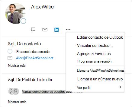 Seleccione vincular contactos para actualizar la información de otro registro de contacto.