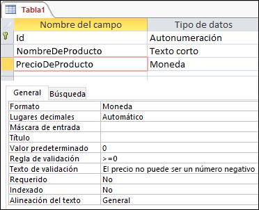 Aparece una regla de validación de campo en el Diseñador de tablas de Access