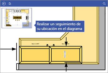 La pantalla de desplazamiento lateral de la esquina superior izquierda de la pantalla le ayuda a comprobar en qué lugar del diagrama está.